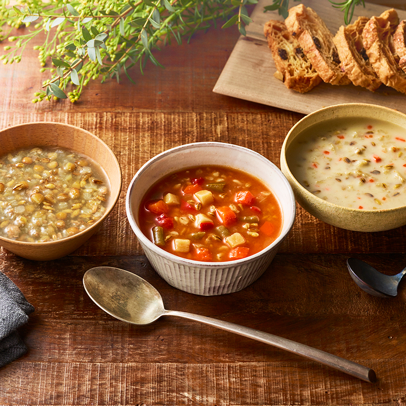 寒い朝に、2分であったか「レトルトスープ」